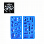 Cabochon Mould Trays, Set x 2 Round/Oval/Rectangle/Octagon.  Faceted Pendant Resin Casting. J2215